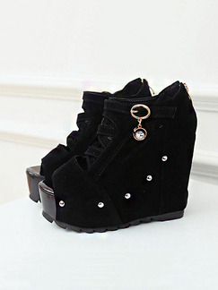 Black Suede Peep Toe Platform 8CM Wedges
