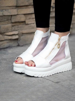 White Leather Peep Toe Flats Boots
