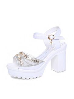 White Leather Open Toe Platform High Heel Chunky Heel Ankle Strap 10CM Heels