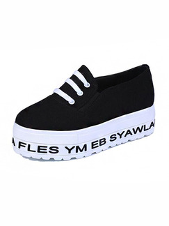 Black and White Canvas Round Toe Lace Up Rubber Shoes
