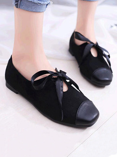Black Suede Round Toe Flats