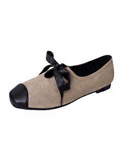 Beige and Black Suede Round Toe Flats