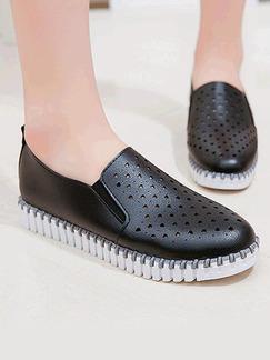 Black and White Leather Round Toe Flats