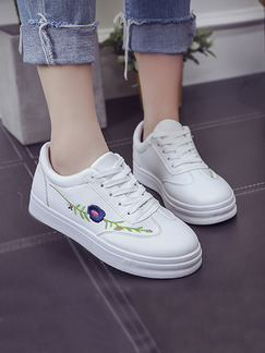 White Leather Round Toe Lace Up Rubber Shoes