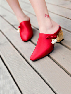 Red Canvas Pointed Toe Low Heel Chunky Heel 5CM Heels