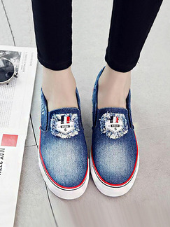Blue Red and White Canvas Round Toe Rubber Shoes