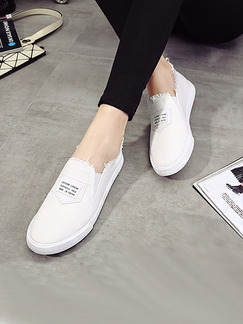 White Canvas Round Toe Rubber Shoes
