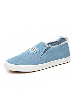 Blue Canvas Round Toe Rubber Shoes