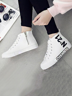 White and Black Leather Round Toe Lace Up Boots Rubber Shoes