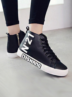 Black and White Leather Round Toe Lace Up Boots Rubber Shoes