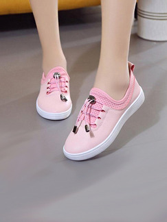 Pink Leather Round Toe Lace Up Rubber Shoes