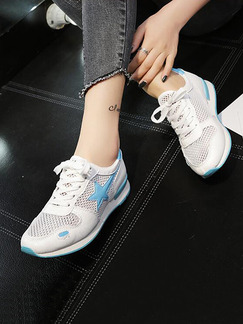 White and Blue Nylon Round Toe Lace Up Rubber Shoes