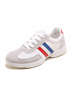 Grey White Blue and Red Nylon Round Toe Lace Up Rubber Shoes