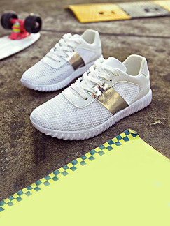 White and Gold Nylon Round Toe Lace Up Rubber Shoes