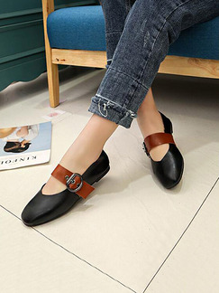 Black and Brown Leather Round Toe Flats
