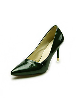 Black Patent Leather Pointed Toe High Heel Pumps Stiletto Heel 6CM Heels