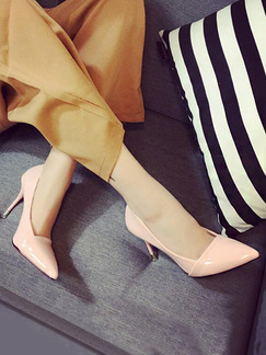 Pink Patent Leather Pointed Toe High Heel Pumps Stiletto Heel 6CM Heels