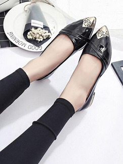 Black and Gold Patent Leather Pointed Toe 2.5CM Flats