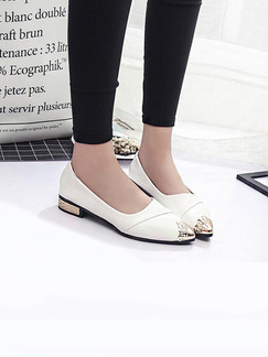 White and Gold Patent Leather Pointed Toe 2.5CM Flats