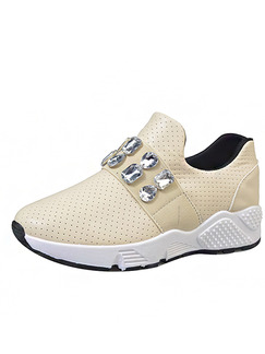 Beige and White  Leather Round Toe Rubber Shoes
