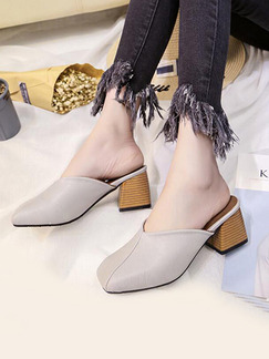 Grey Leather Round Toe High Heel Chunky Heel 6.5CM Heels