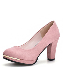 Pink Suede Round Toe Pumps High Heels 9CM Heels