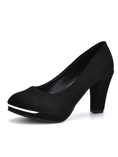 Black Suede Round Toe Pumps High Heels 9CM Heels