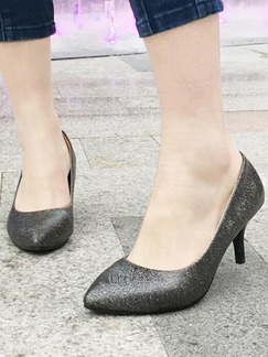 Black and Silver Patent Leather Pointed Toe Pumps Low Heels 6CM Heels