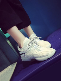 White Nylon Round Toe Lace Up Rubber Shoes