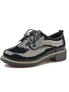 Black Patent Leather Round Toe Lace Up Low Heel 3.5CM Heels