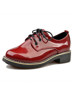 Red Patent Leather Round Toe Lace Up Low Heel 3.5CM Heels
