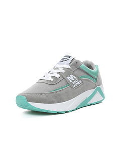 Grey Green and White Suede Round Toe Lace Up Rubber Shoes