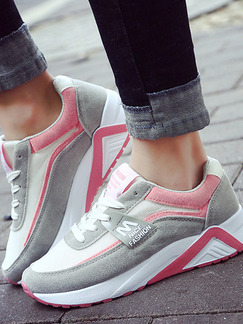 Grey Pink and White Suede Round Toe Lace Up Rubber Shoes