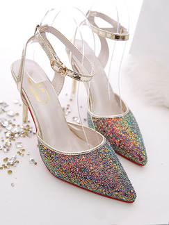 Colorful Leather Pointed Toe High Heel Stiletto Heel Ankle Strap 9CM Heels
