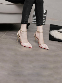 Pink Leather Pointed Toe High Heel Stiletto Heel Ankle Strap 9CM Heels