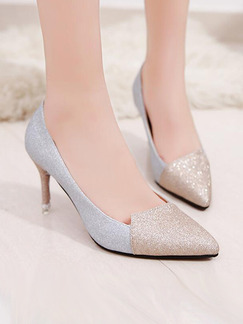 Silver and Gold Leather Pointed Toe Pumps High Heel Stiletto Heel 8.8CM Heels