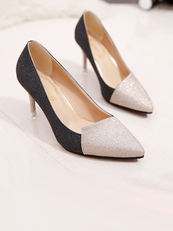 Gold and Black Leather Pointed Toe Pumps High Heel Stiletto Heel 8.8CM Heels
