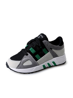 Grey Black and Green Suede Round Toe Lace Up Rubber Shoes