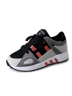 Grey Red and Black Suede Round Toe Lace Up Rubber Shoes
