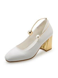 White and Gold Leather Round Toe Pumps High Heel Chunky Heel 7CM Heels