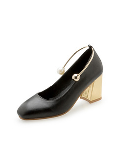 Black and Gold Leather Round Toe Pumps High Heel Chunky Heel 7CM Heels