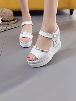 White Leather Peep Toe Platform Ankle Strap 9CM Wedges