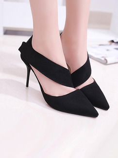 Black Suede Pointed Toe Pumps High Heel Stiletto Heel 9.5CM Heels