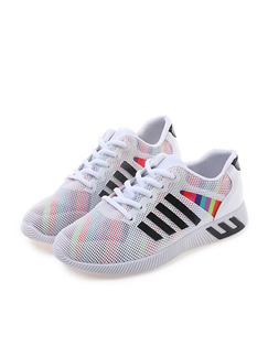 White Colorful Gauze Round Toe Lace Up Rubber Shoes