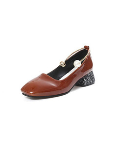 Brown Patent Leather Round Toe Low Heel Chunky Heel 4CM Heels