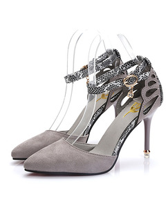 Grey Suede Pointed Toe High Heel Stiletto Heel Ankle Strap 9CM Heels