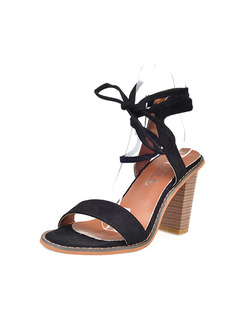 Black and Brown Suede Open Toe High Heel Chunky Heel Strappy 8CM Heels