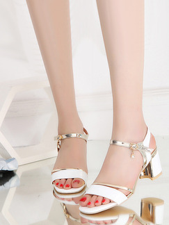 White and Gold Leather Open Toe High Heel Chunky Heel Ankle Strap 6CM Sandals Heels