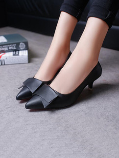 Black Leather Pointed Toe Pumps Low Heel 6CM Heels