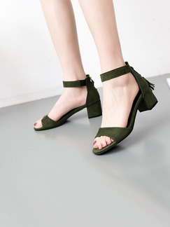Green Suede Open Toe Low Heel Ankle Strap 6CM Heels